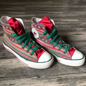 Converse High Top Holiday Print Satin Red Sneakers